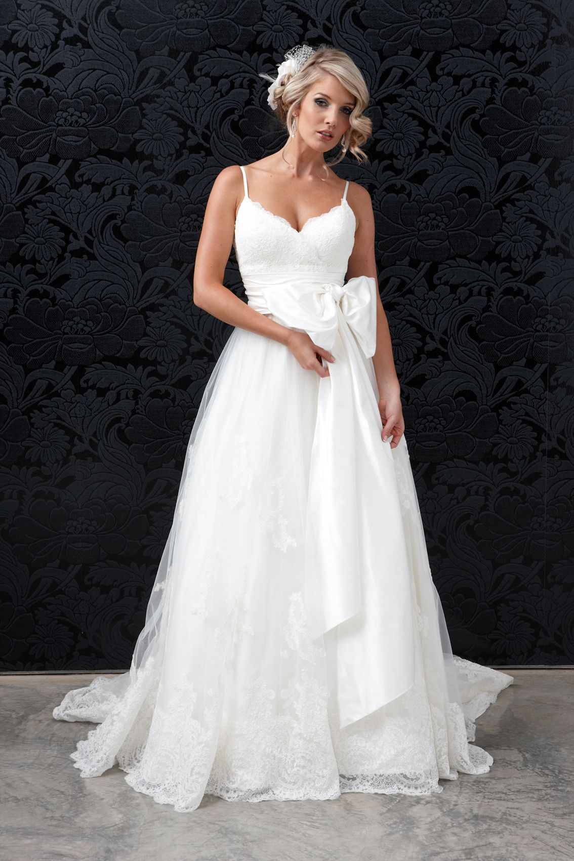Princess Ballgown Lace Silk Wedding Gown With Dupion Tulle