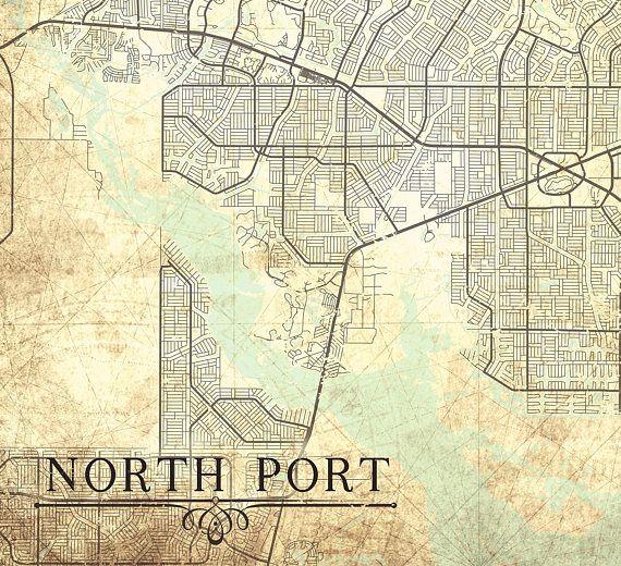 Map Of North Port Florida.North Port Fl Canvas Print Florida Fl Vintage Map North Port Fl City