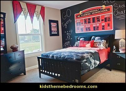 Football Bedroom Decorating Ideas All Sports Theme Bedroom Ideas  Chaulkboard Wall To Inspire With Words