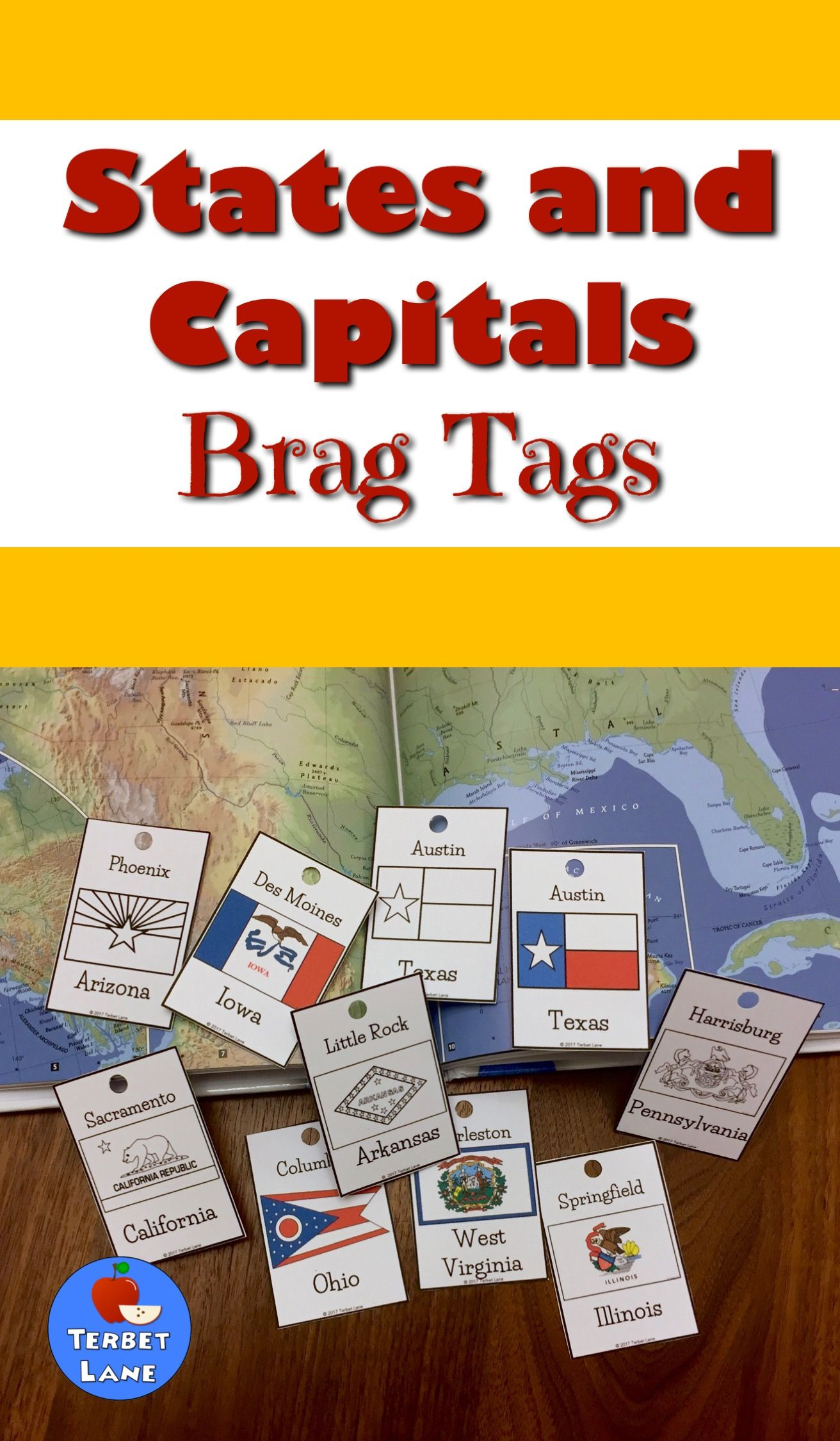 States And Capitals Reward Tags