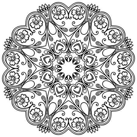Vector henna tatoo mandala. stile Mehndi | Para Pintar | Pinterest ...