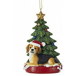Beagle With Christmas Tree And Lights Ornament For Personalization