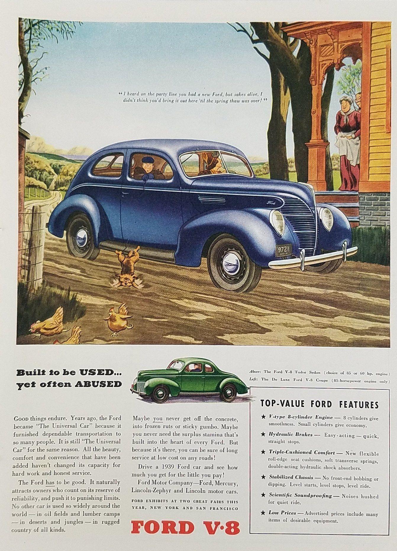 1939 Ford V-8 Tudor Sedan and De Luxe Vintage Car Ad | Ford ...