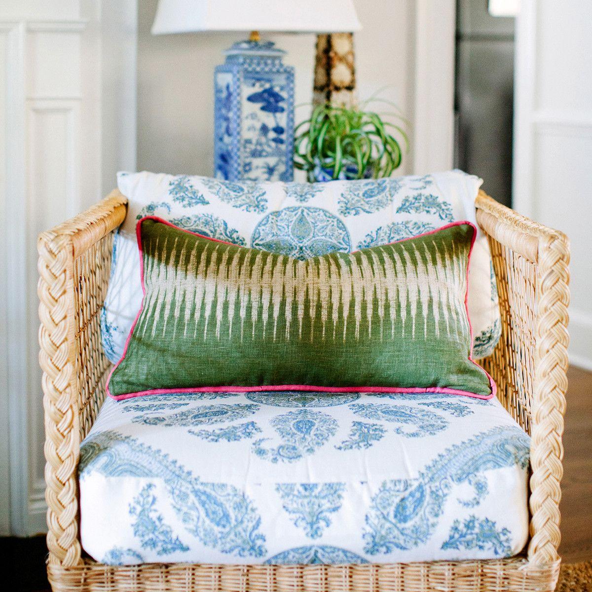 Peter Dunham Green Ikat Lumbar Pillow