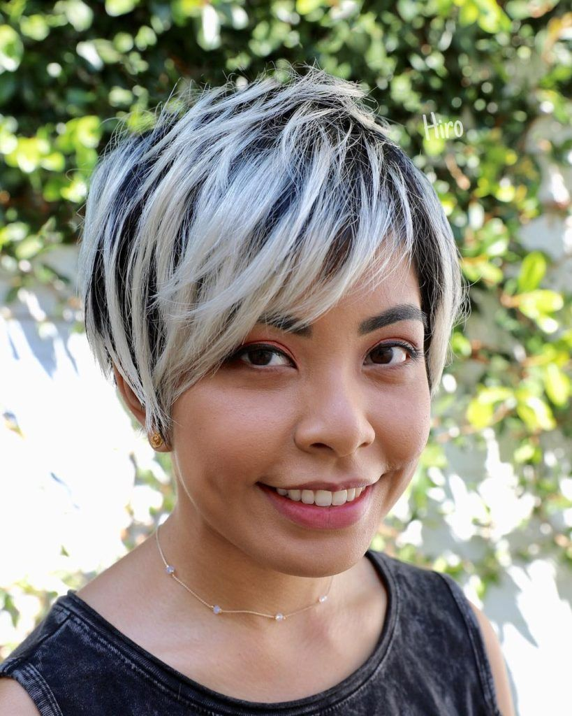 Dark Hair With Platinum Highlights Dark Hair With Highlights Platinum Blonde Highlights Black Hair With Highlights