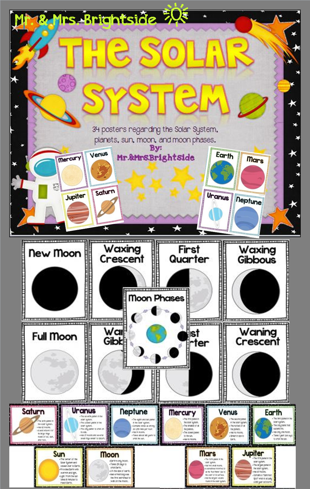 The Solar System Planet Facts And Moon Phases Posters Homeschool Science Science Classroom Teaching Science [ 1575 x 1001 Pixel ]