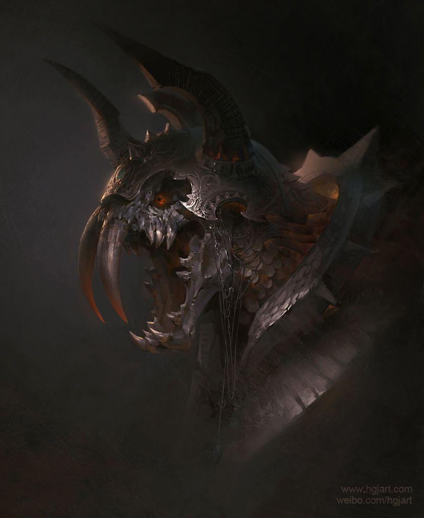 demon concept - Sabre Tooth Skull by hgjart.deviantart.com on @deviantART