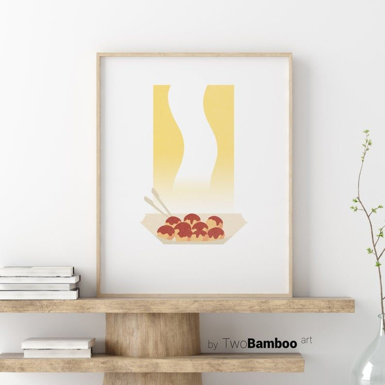Takoyaki Print Japanese Food Print Printable Wall Art Japanese Art Print Digital Print Downloadable Print Minimalist Wall Art Formas De Uñas Illustration Takoyaki