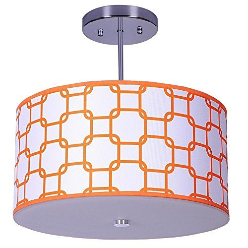 Add style to your childs bedroom or nursery with this modern drum light that features a links pattern in orange colour this pendant is sure to make a bold