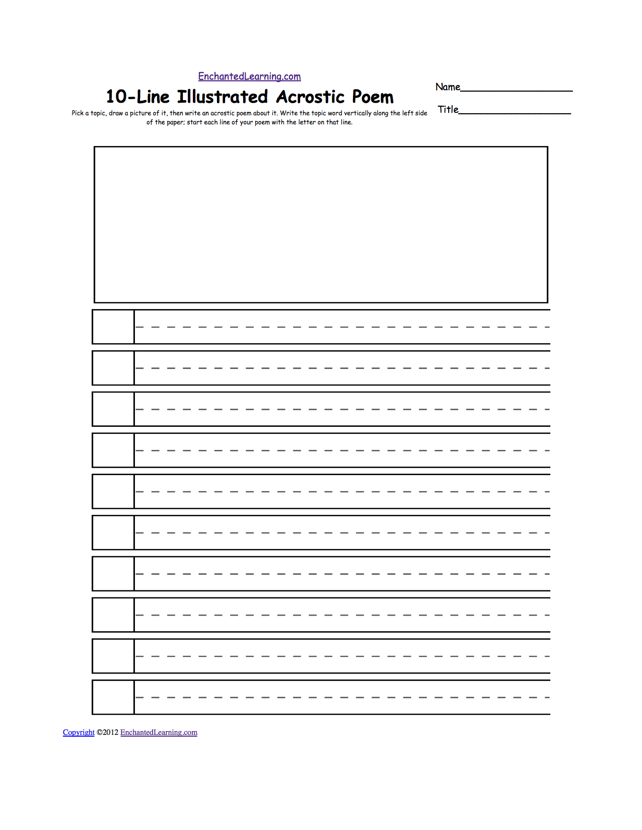 Blank Illustrated Acrostic Poem Worksheets (Handwriting