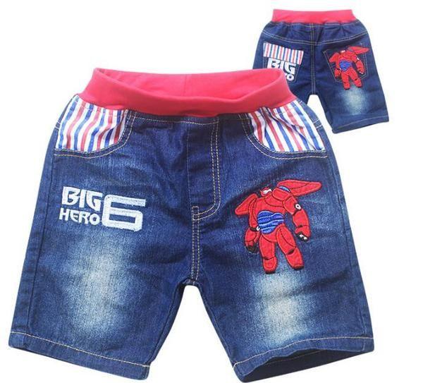75d5f277e 2015 big hero 6 cartoon fashion kids short jeans,children boys summer denim  pant,children embroidered Soft denim shorts
