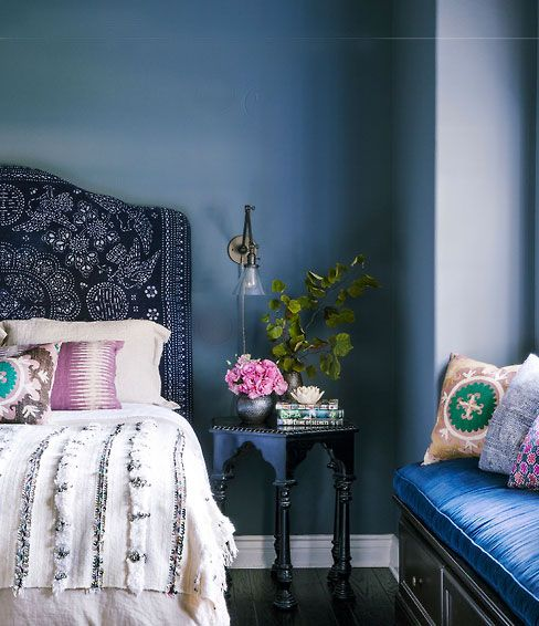 Boho Bedroom, With A Medium/dark Blue Color Scheme. Design By Amber Lewis
