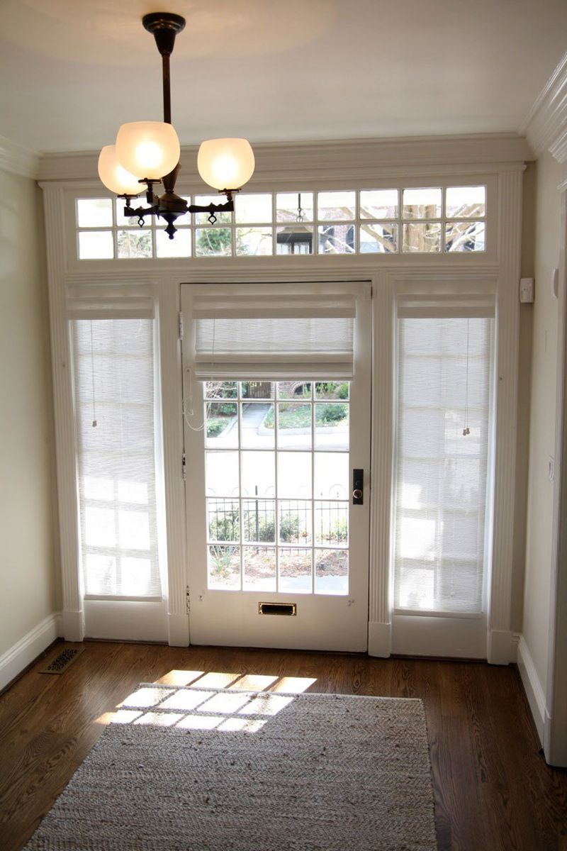 Curtains drapes and blinds for a glass front door glass for Front window ideas