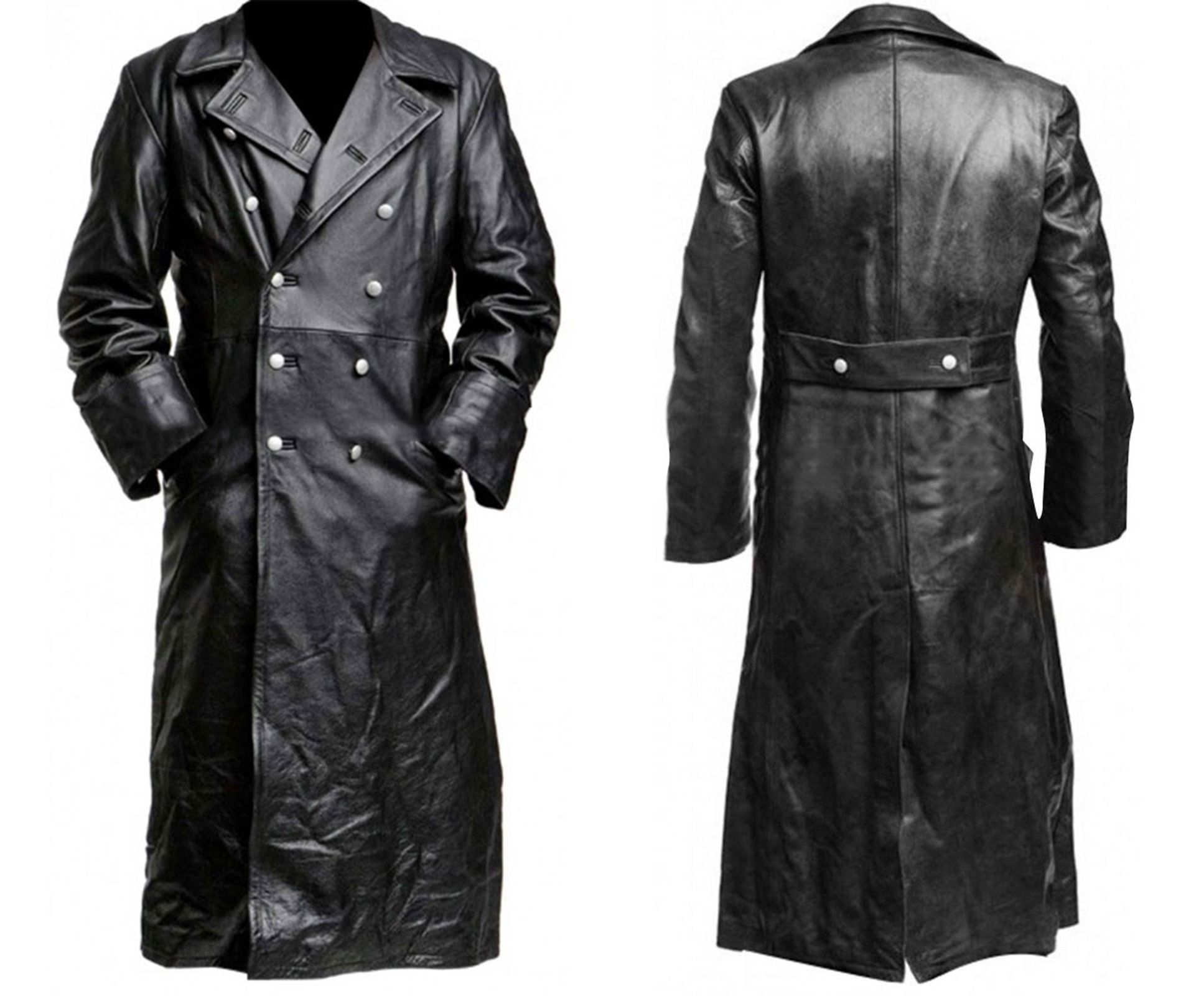 b663ccd3b19  German  Classic Officer  WW2  Military Uniform Black  Leather  Trench  Coat