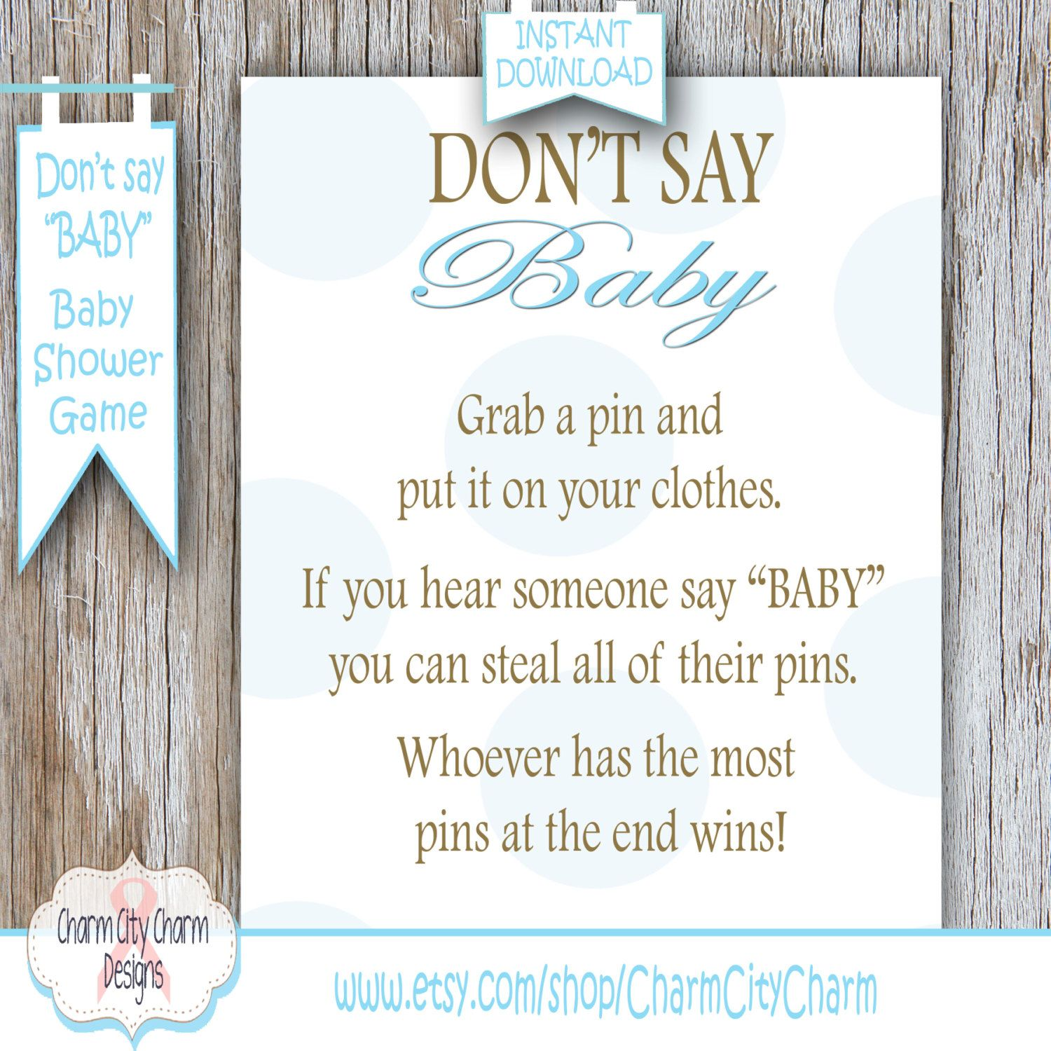Dont Say Baby Baby Shower Game, Blue Polka Dots Clothes