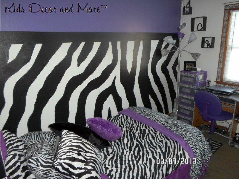 Zebra Bedroom Girls Tween Purple Custom Wall Mural Design