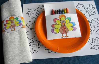 Free Turkey Coloring Pages For Kindergarten : Thanksgiving kids table idea. free printable coloring pages and