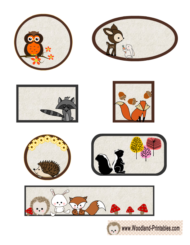 picture relating to Free Printable Woodland Animal Templates named Cost-free Printable Woodland Pets Labels Free of charge Printables