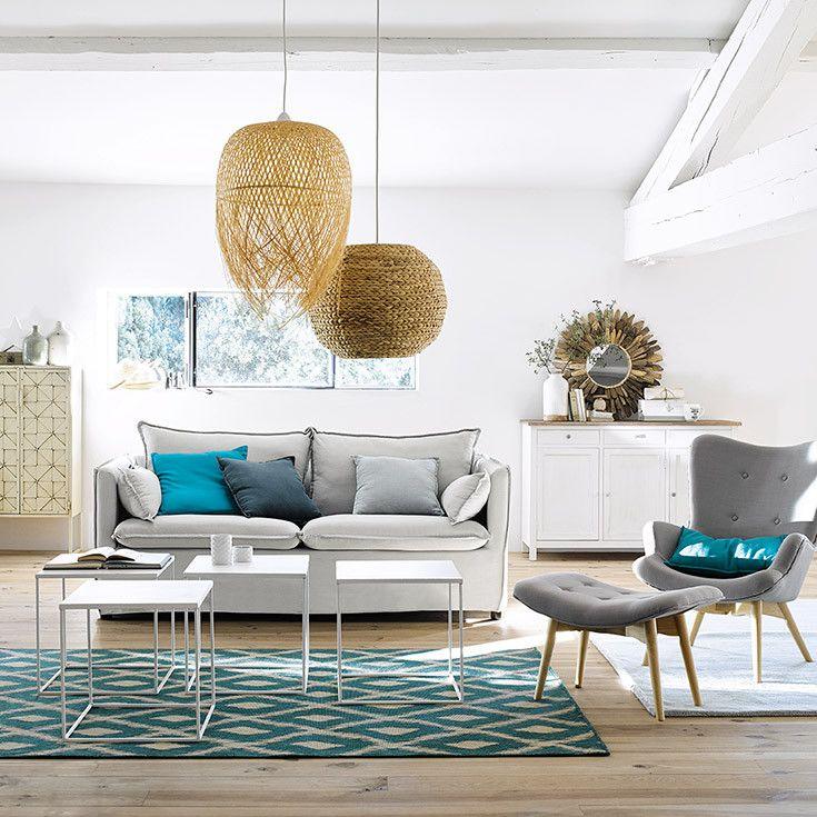 salon gris blanc bois bleu naturel rotin bord de mer maisons du monde living coastal