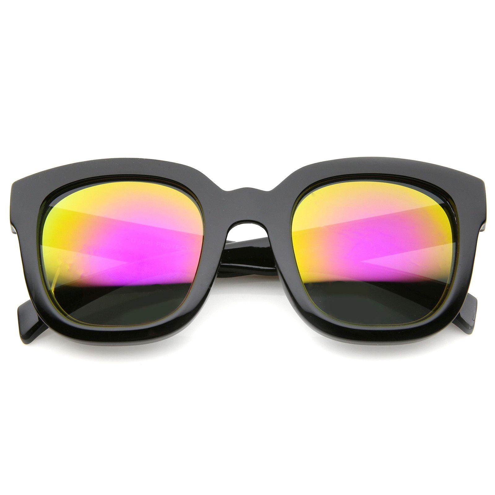 2c377e2e53d Bold Oversize Chunky Frame Horn Rimmed Mirror Lens Square Sunglasses 53mm   frame  bold  sunglass  sunglasses  womens  cateye  mirrored  purple   oversized   ...