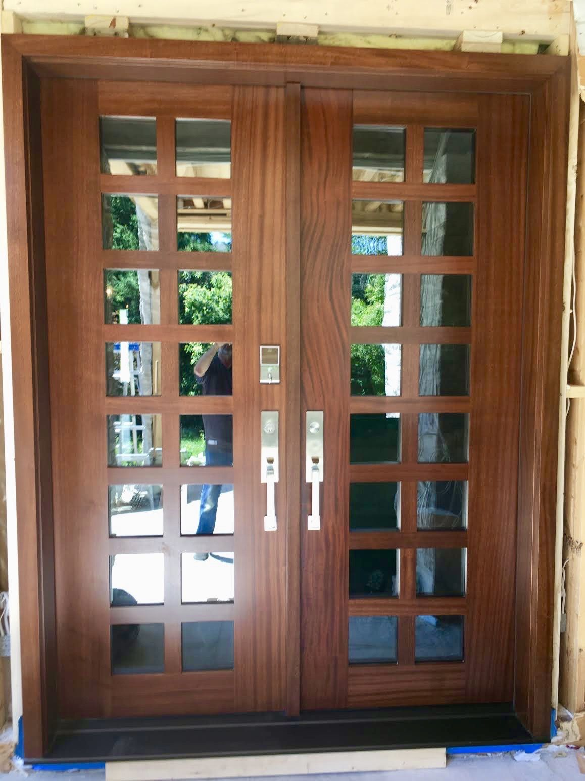 New Construction Features Stunning Handmade Custommade Mahogany Amberwooddoors Doubledoor Double Entry Doorsfront Doorswood Doorsclear