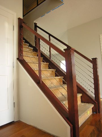 Interior cable stair railing kits stairways railings - Interior stair railing contractors ...
