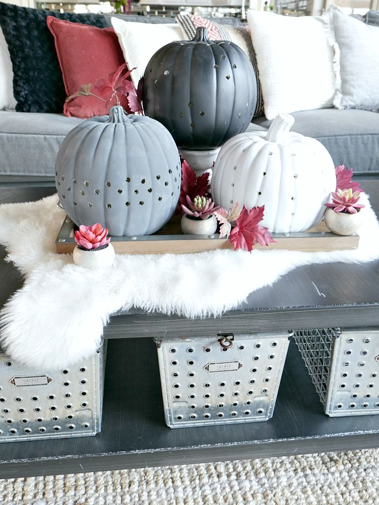 Create these more modern looking decorative pumpkins using a power drill and paint! These DIY Drilled Pumpkins are so easy to make and you can customize the design to you liking!