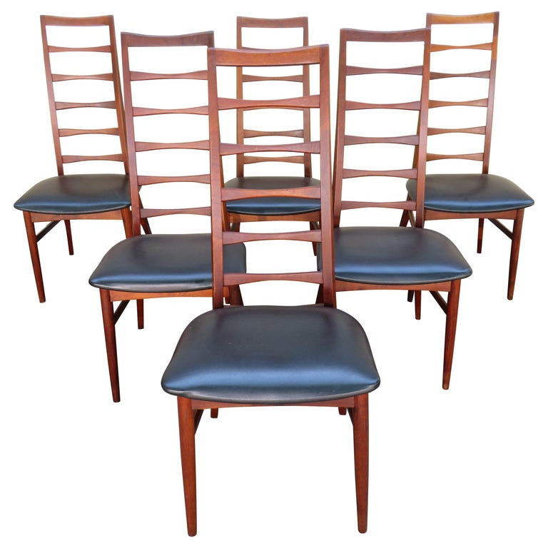Decorate Your Dinning With These Lovely Christmas Chair: 6 Lovely Niels Kofoed Style Teak Danish Modern Ladderback