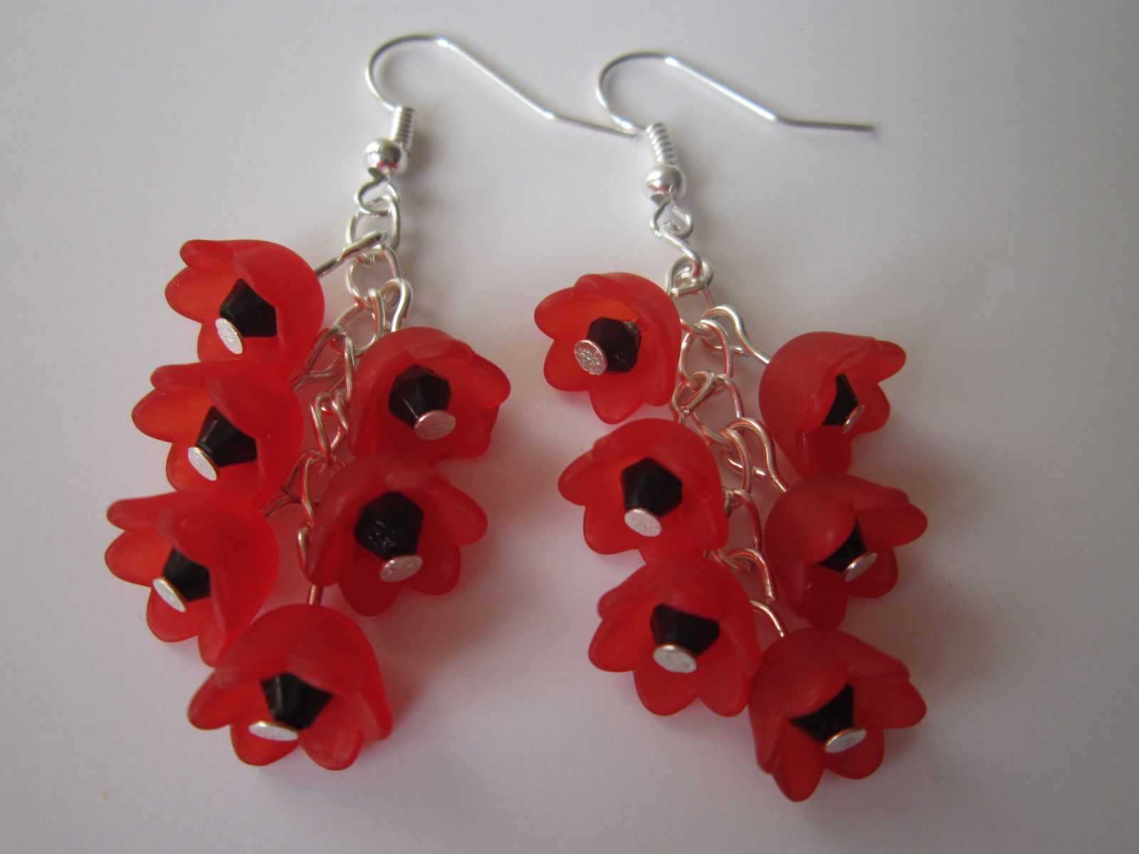 Drop // Dangle Earrings Silver Plated Poppy Cluster Red Lucite Flowers