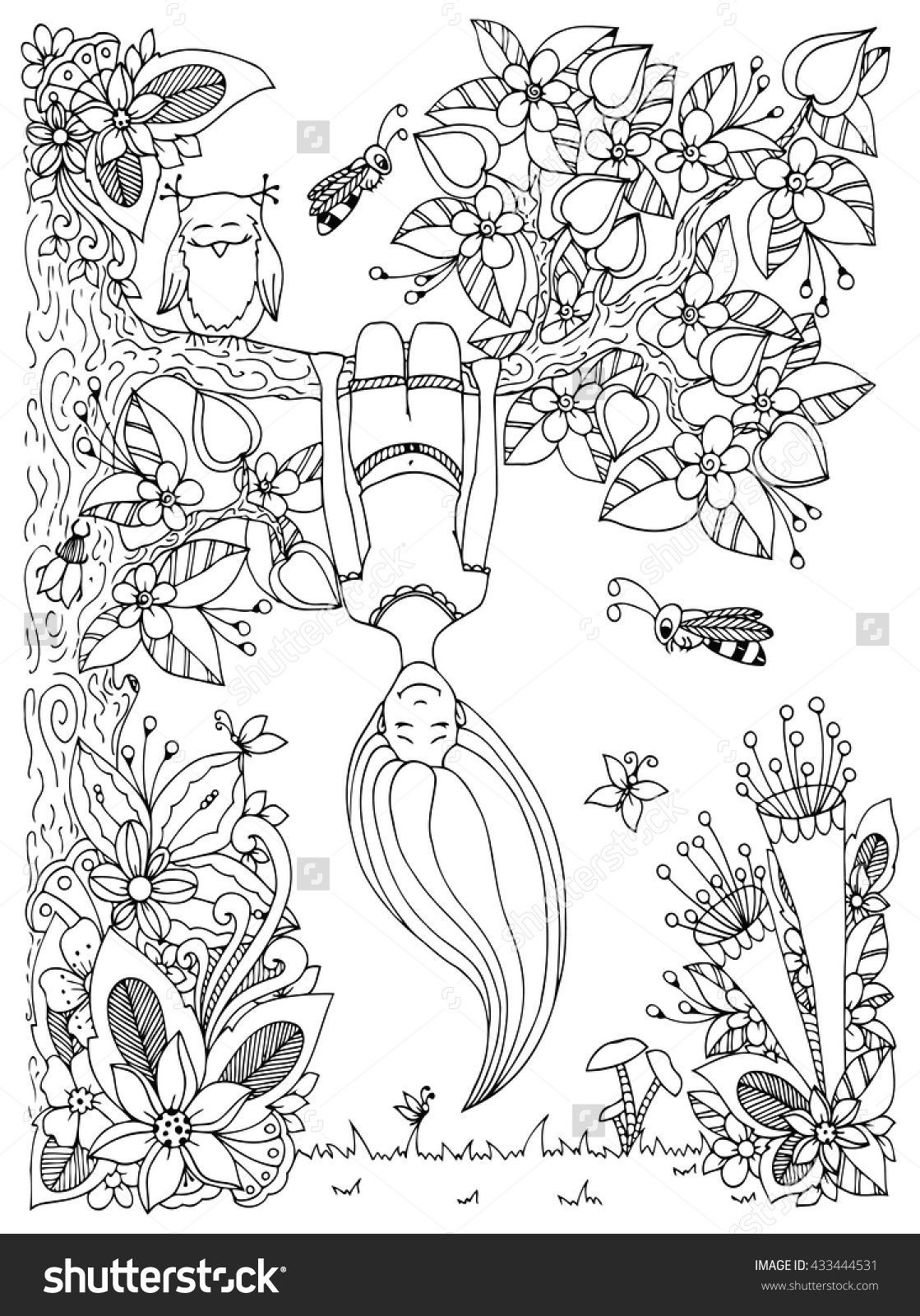Zen Tangle Girl Hangs On A Tree Upside Down Doodle Floral