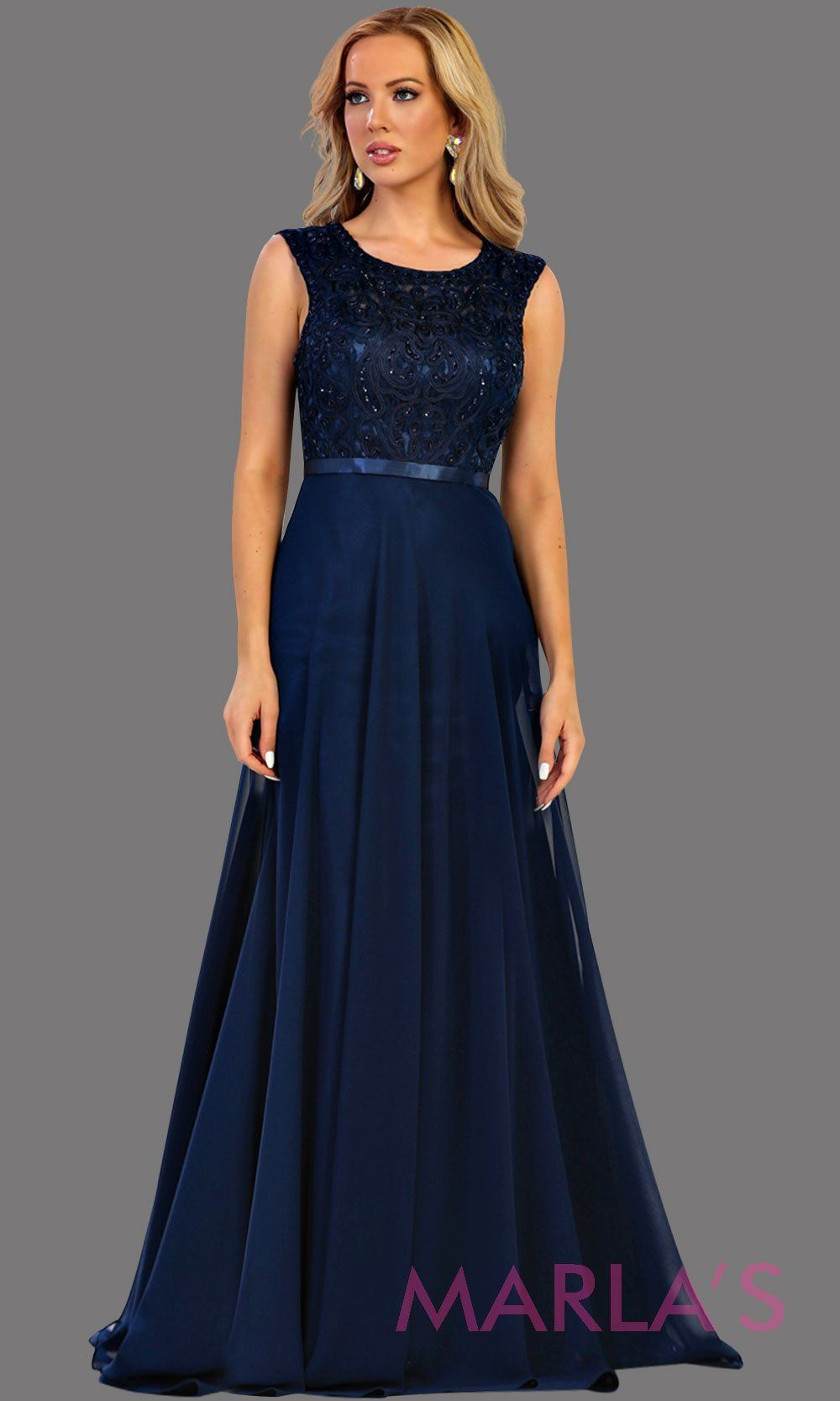065fe3f9584 Long flowy dark blue high neck lace party dress. Perfect for modest navy  blue prom