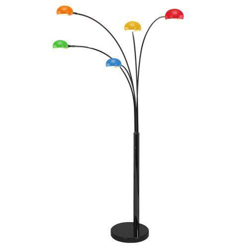 Modern Black Designer Five Way Curva Floor Lamp With Multi