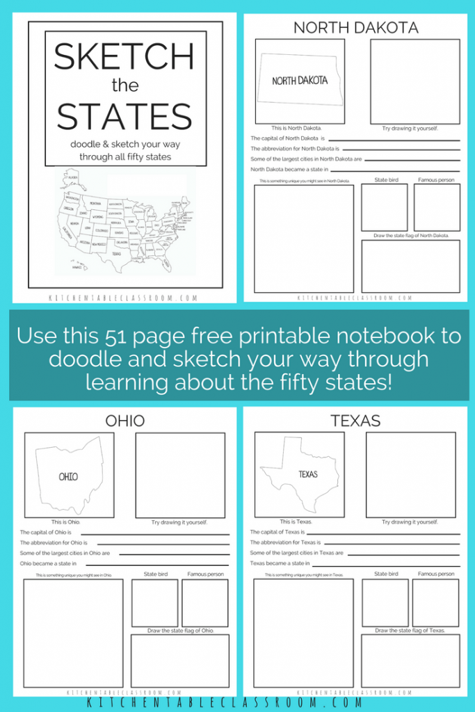 Sketch the Fifty States- Free Printable Book - The Kitchen Table Classroom