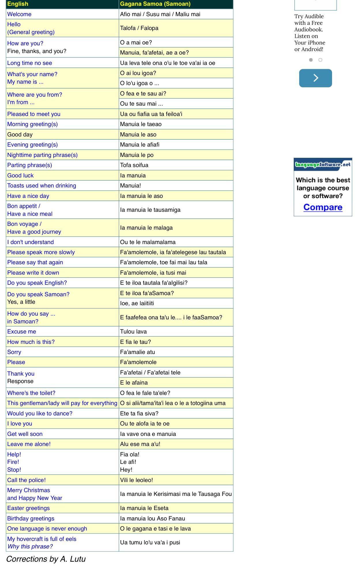 Samoan Phrases