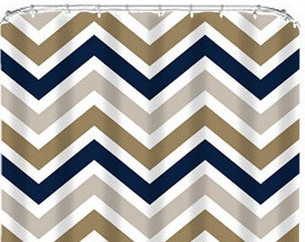 Shower Curtain Monogram Custom You Choose Colors Navy Gold Beige