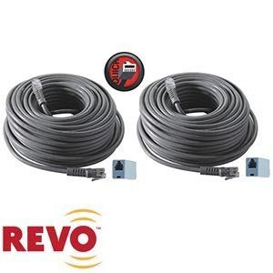 REVO 2-Pack 100ft Expansion Cables One Cable Supplies Power, Data and Video by REVO. $51.99. 100' RJ12 Cable makes connecting the security camera to the DVR as easy as plugging in a phone line!.All-In-One Cable: One cable supplies power, data and video.RJ12: RJ12 connectors for easy connection.