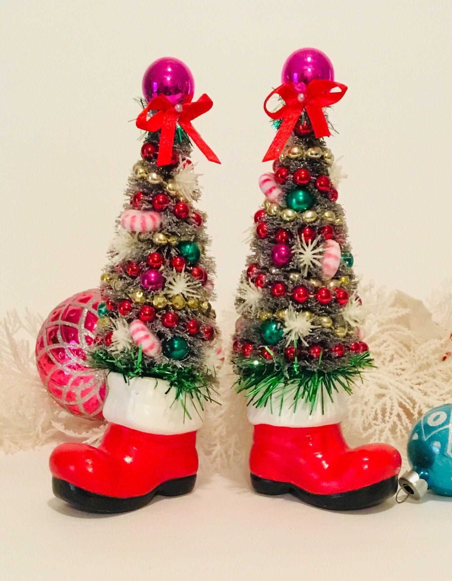Santa Boot Bottle Brush Trees ~ Pair of Santa Boots, Vintage Santa Boots, Decorated Bottle Brush Tr