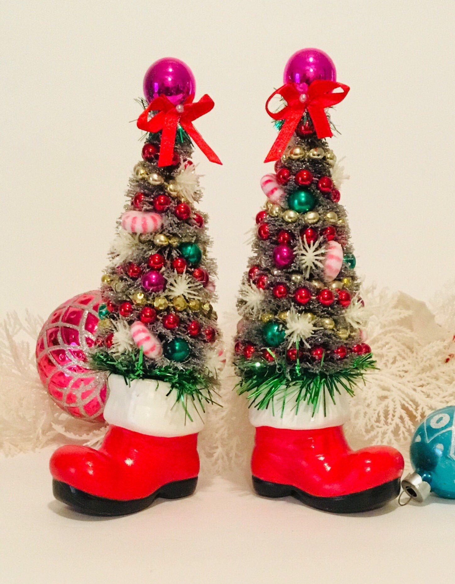Santa Boot Bottle Brush Trees ~ Pair of Santa Boots, Vintage Santa Boots, Decorated Bottle Brush Tr