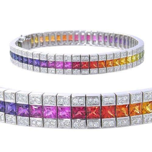 Rainbow Sapphire Diamond Tennis Bracelet 14k White Gold 9 5ct Tw Tennis Bracelet Diamond Rainbow Sapphires Yellow Gold Bracelet