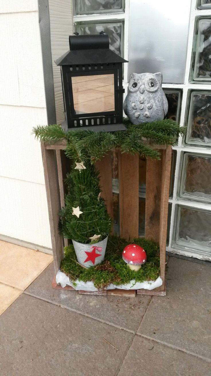 Deko Weinkiste Weihnachten #dekohauseingang #dekohauseingang