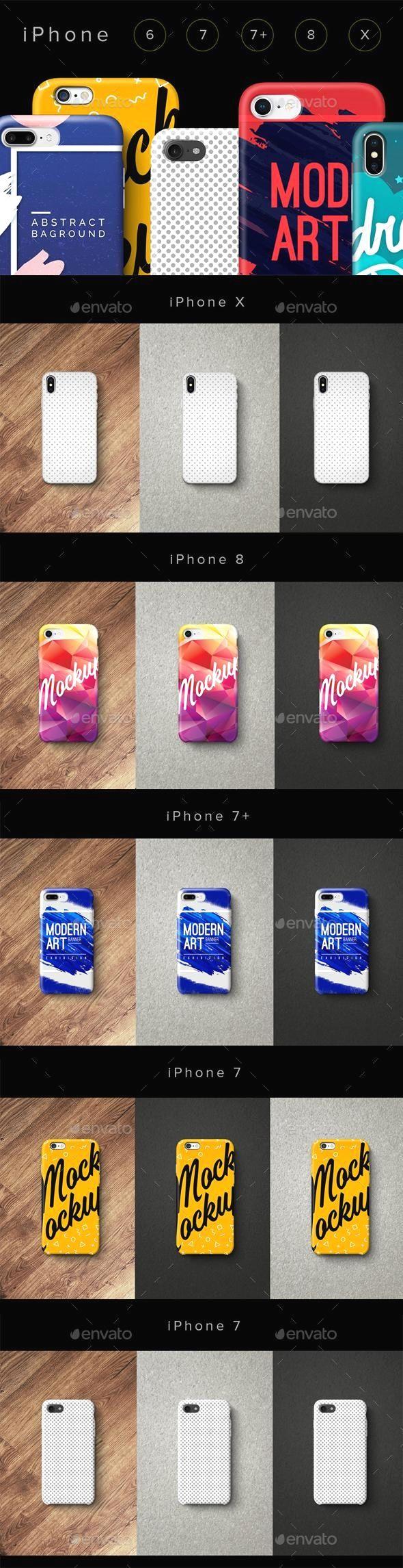 Сases Phone 6, 7, 7plus, 8, X Set Mockup design, Display