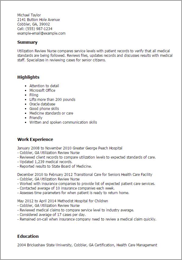 Resume Templates Utilization Review Nurse Utilization Review