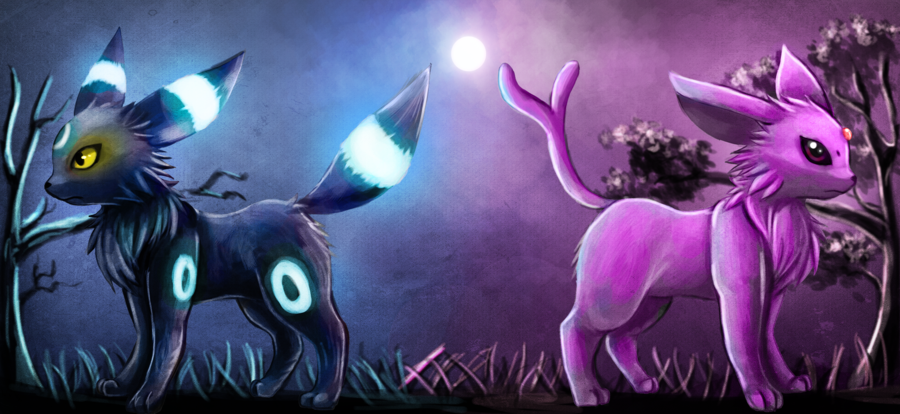 Shiny Umbreon and Espeon by Deruuyo on deviantART.