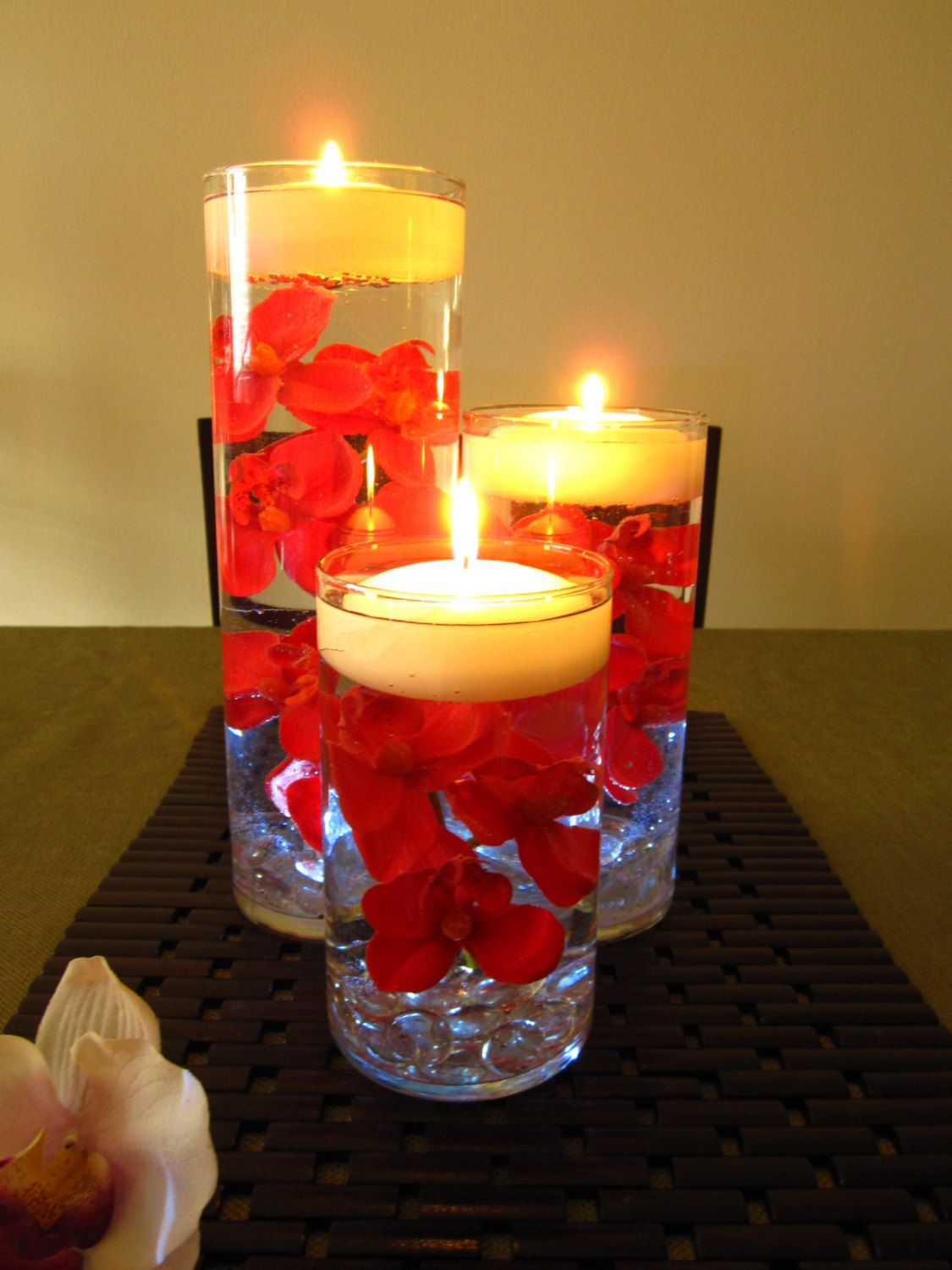 Red Orchid Floating Candle Wedding Centerpiece By Roxyinspirations 65 00 Candle Wedding Centerpieces Floating Flower Candles Floating Candles Wedding