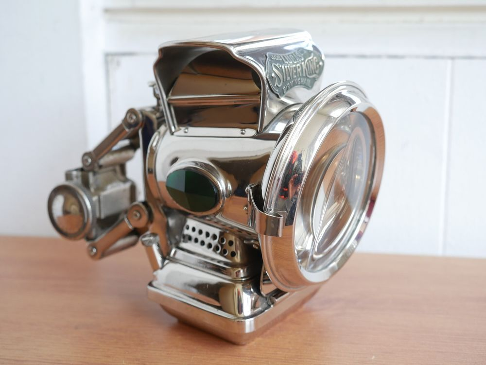 1920s antique joseph lucas silver king bicycle motorcycle lamp