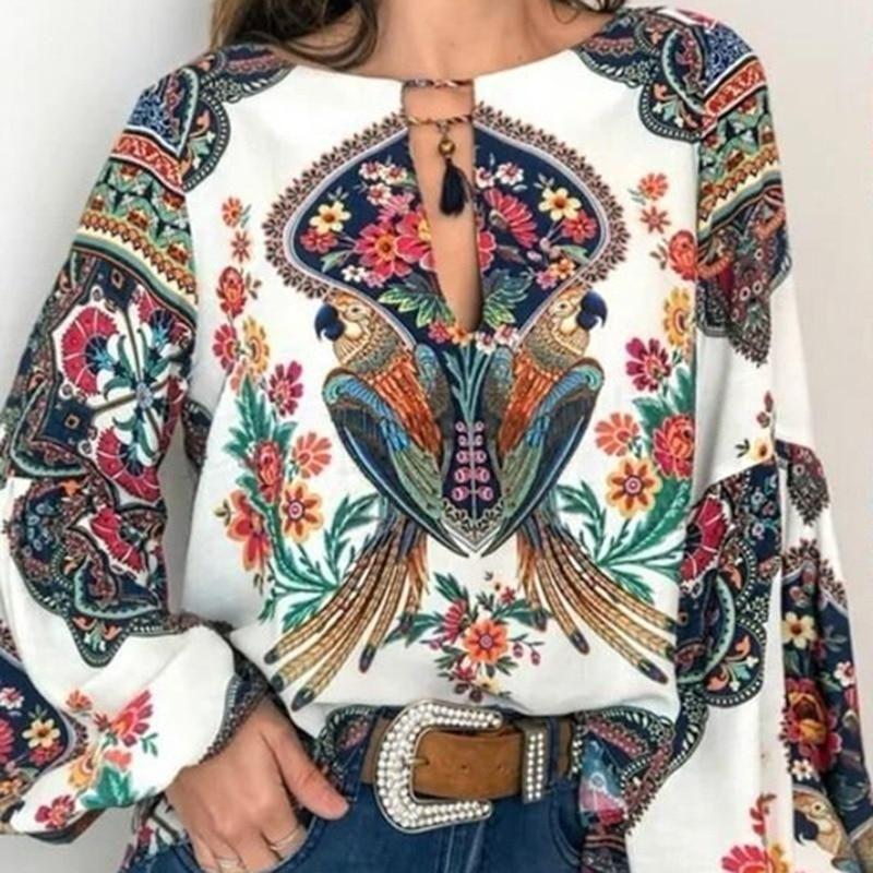 Vintage Bohemian Floral Blouse