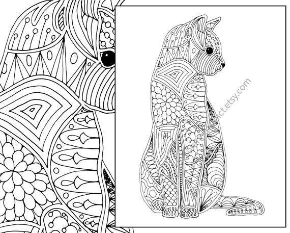 Cat coloring page, advanced coloring page, adult coloring page ...