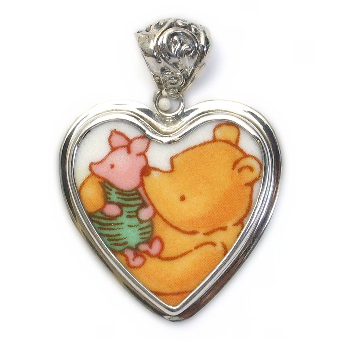Broken China Jewelry Classic Pooh Bear Piglet Pig Sterling Heart ...