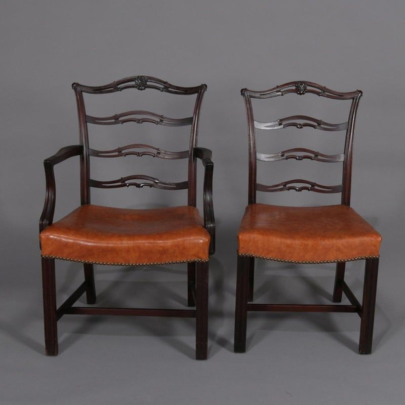 1920s Antique Chippendale Style Carved Mahogany Ribbon Back Dining Chairs Set Of 12 Chairish Dining Chairs Chair Dining Chair Set