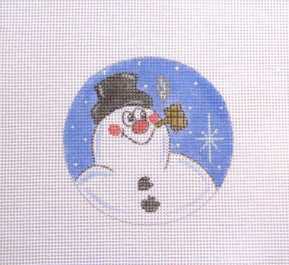 Frosty Snowman in the Snow Handpainted by MarsyesNPCanvas on Etsy